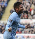 Manchester City's Garcia celebrates scoring against Newcastle United during their English Premier League soccer match in Newcastle