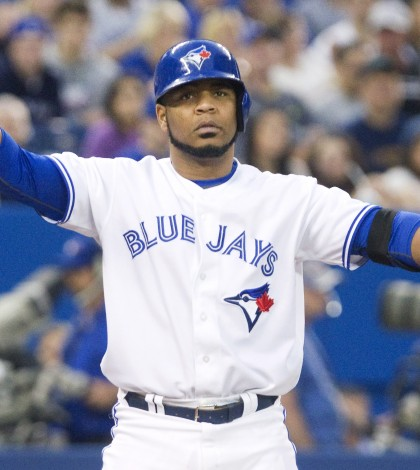 Toronto Blue Jays Edwin Encarnacion throws his hands up after been brushed back with a close pitch in the fifth inning in Toront