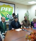 Snap...PFF-President-Faisal-Saleh-Hayat-gives-briefing-to-officials-and-players-of-Pakistan-team-at-FIFA-House-on-6-Feb-2011